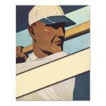 Vintage Sports, Stylized Baseball Player Custom Invitations