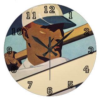 Vintage Sports, Stylized Baseball Player Large Clock