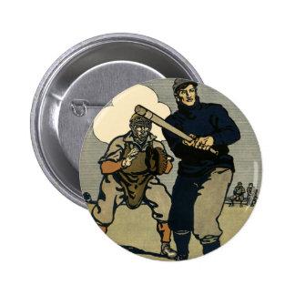 Vintage Sports, Stylized Baseball Players Game Pinback Buttons