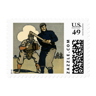 Vintage Sports, Stylized Baseball Players Game Stamp