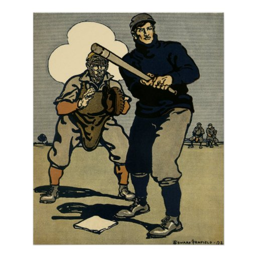 Vintage Sports, Stylized Baseball Players Game Poster