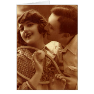 Vintage Sports Tennis, Love and Romance Greeting Card