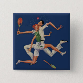 Vintage Sports, Tennis Players Crash with Rackets Button