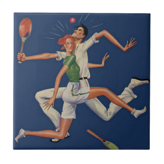 Vintage Sports, Tennis Players Crash with Rackets Ceramic Tile