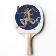 Vintage Sports, Tennis Players Crash with Rackets Ping Pong Paddle