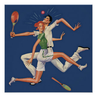 Vintage Sports Tennis Players Crash with Rackets Personalized Invite