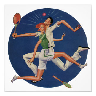 Vintage Sports Tennis Players Crash with Rackets Invite