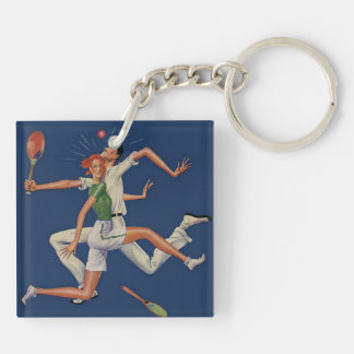 Vintage Sports Tennis Players Crash with Rackets Acrylic Keychains