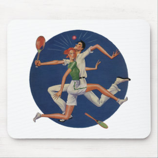 Vintage Sports, Tennis Players Crash with Rackets Mouse Pad