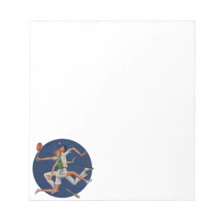 Vintage Sports, Tennis Players Crash with Rackets Notepad