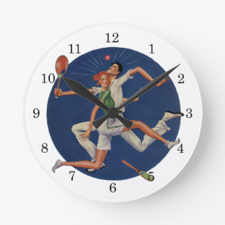 Vintage Sports, Tennis Players Crash with Rackets Round Clock