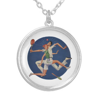 Vintage Sports, Tennis Players Crash with Rackets Silver Plated Necklace