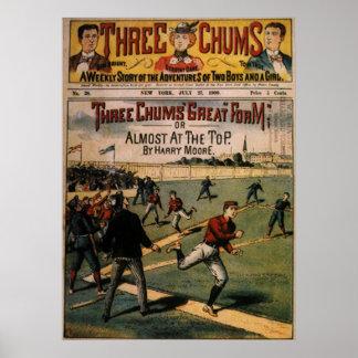Vintage Sports, Three Chums Magazine Cover Art Print