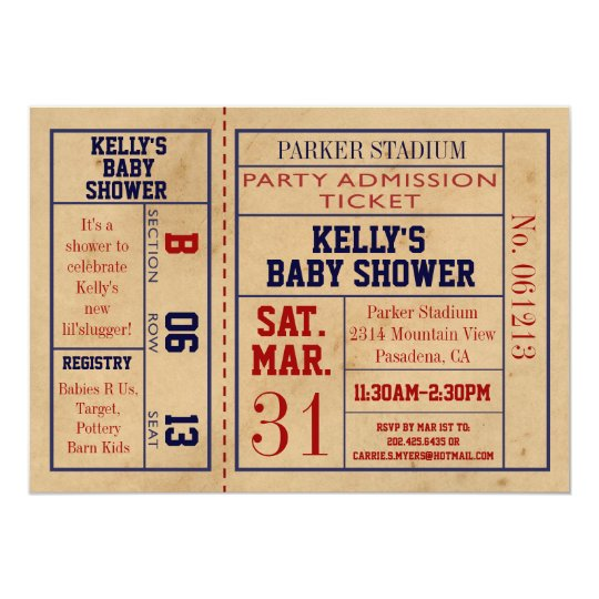 Vintage Sports Ticket Baby Shower Invite - Basebal