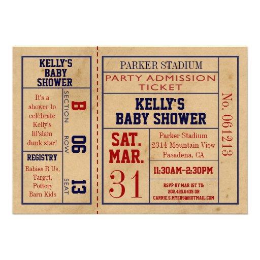 Vintage Sports Ticket Baby Shower Invite -Bsktball