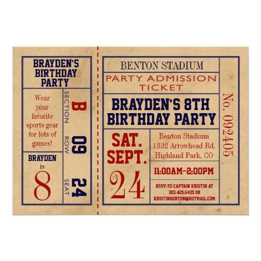 Vintage Baseball Birthday Invitations: Vintage Sports Ticket Birthday Invite