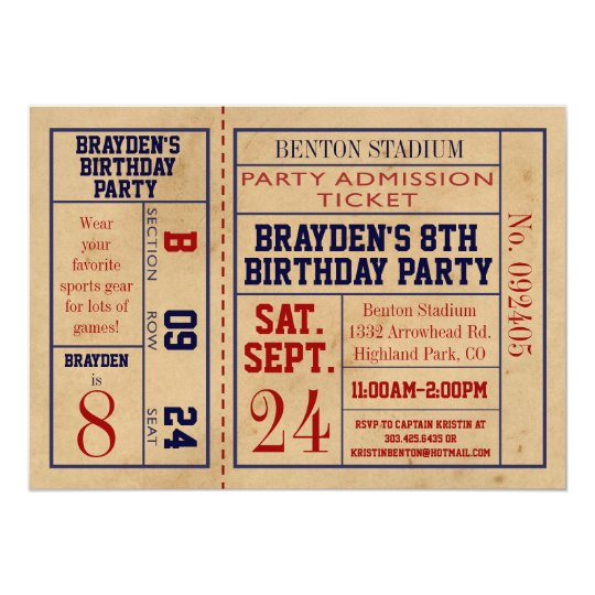 Vintage Baseball Birthday Invitations: Vintage Sports Ticket Birthday Invite - Baseball
