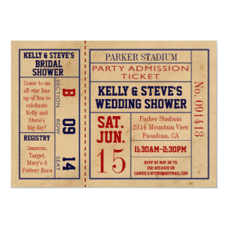 Vintage Sports Ticket Bridal Shower Invite bsktbal