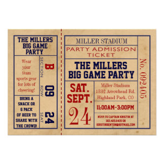 Vintage Sports Ticket Invite - Football Party
