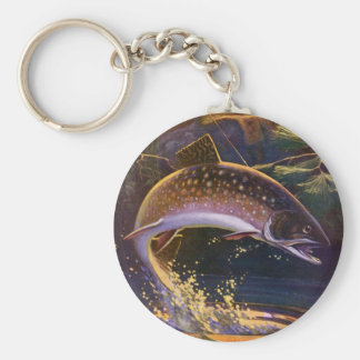 Vintage Sports Trout Fish Fishing, Catch n Release Basic Round Button Keychain