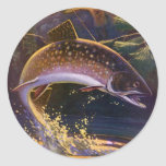 Vintage Sports Trout Fish Fishing, Catch n Release Classic Round Sticker