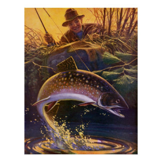 Vintage Sports Trout Fish Fishing, Catch n Release Poster