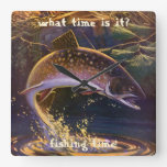 Vintage Sports Trout Fishing; Catch and Release Square Wall Clocks