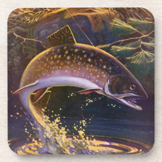Vintage Sports Trout Fishing; Catch and Release Beverage Coasters