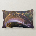Vintage Sports Trout Fishing; Catch and Release Throw Pillows