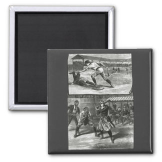Vintage Sports, Victorian Women's Baseball Teams 2 Inch Square Magnet