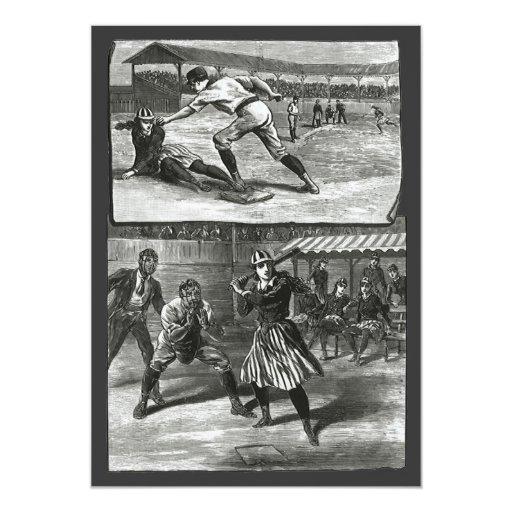 "Vintage Sports, Victorian Women's Baseball Teams 5"" X 7"" Invitation Card"