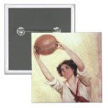 Vintage Sports, Woman Basketball Player Pinback Button