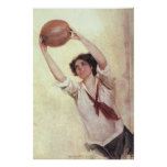 Vintage Sports, Woman Basketball Player Posters