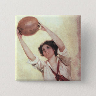 Vintage Sports, Woman Basketball Player with Ball Button
