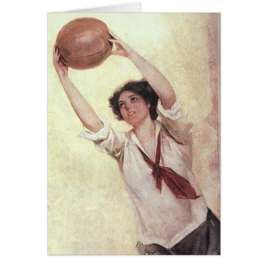 Vintage Sports, Woman Basketball Player with Ball Card