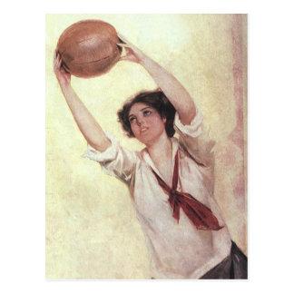 Vintage Sports, Woman Basketball Player with Ball Postcard