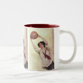 Vintage Sports, Woman Basketball Player with Ball Two-Tone Coffee Mug