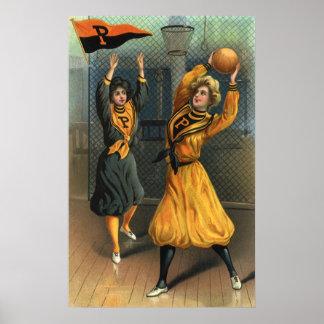 Vintage Sports, Women Playing Basketball Poster