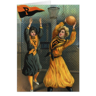 Vintage Sports, Women Team Playing Basketball Game Card