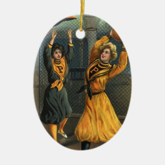 Vintage Sports, Women Team Playing Basketball Game Ceramic Ornament