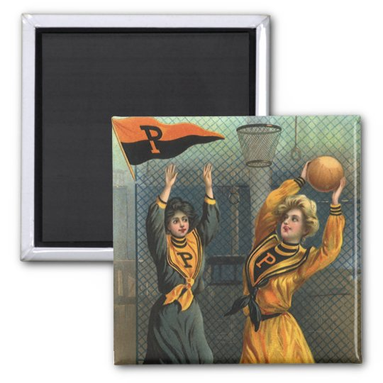 Vintage Sports, Women Team Playing Basketball Game Magnet