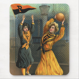 Vintage Sports, Women Team Playing Basketball Game Mouse Pad