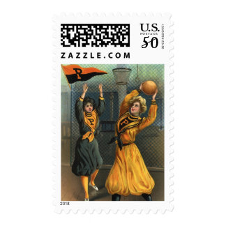 Vintage Sports, Women Team Playing Basketball Game Postage