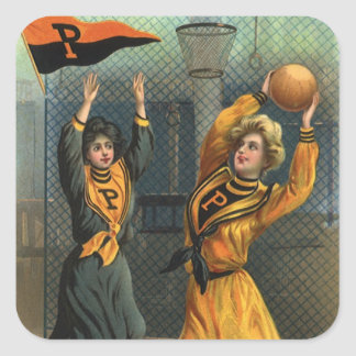 Vintage Sports, Women Team Playing Basketball Game Square Sticker