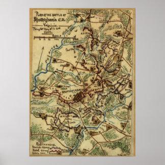 Vintage Spotsylvania Virginia Civil War Map (1865) Poster