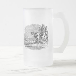 Vintage Spotted Cow Retro Bull Cows Illustration Frosted Glass Beer Mug