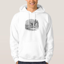 Vintage Spotted Cow Retro Bull Cows Illustration Hoodie