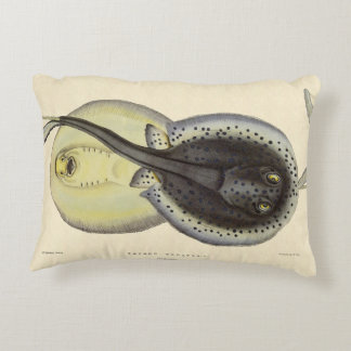 Vintage Spotted Stingrays, Marine Ocean Animals Accent Pillow