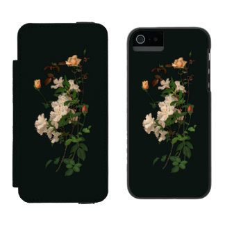 Vintage Spray of Flowers on Black Wallet Case For iPhone SE/5/5s