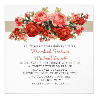 Vintage Spring Bloom Roses Wedding Invite